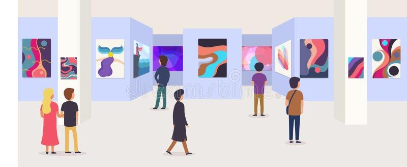 Arte moderno de la galería con los visitantes Pinturas abstractas que cuelgan en la pared en la exposición o el sitio del museo ilustración del vector