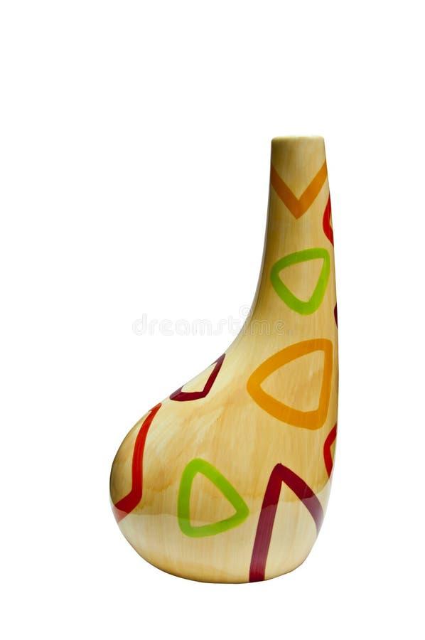 Arte moderno del florero amarillo con geometría. imagen de archivo