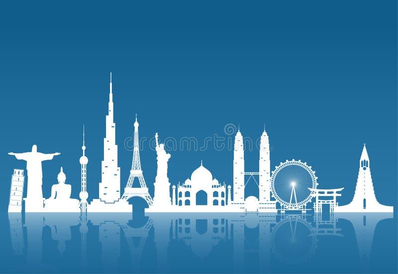 Arte mundialmente famosa do papel do marco Curso e viagem globais Infog ilustração stock