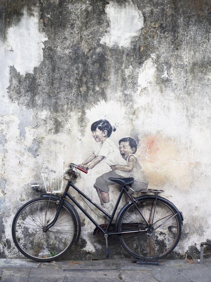 Arte mural de la calle de la pared, Penang imágenes de archivo libres de regalías