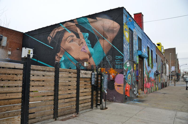 Arte mural em Williamsburg do leste em Brooklyn, NYC fotos de stock royalty free