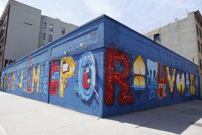 Arte mural en la ciudad del alfabeto en el East Village, Lower Manhattan fotografía de archivo