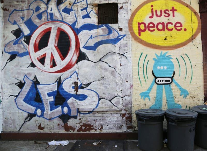 Arte mural na mais baixa zona leste em Manhattan fotografia de stock