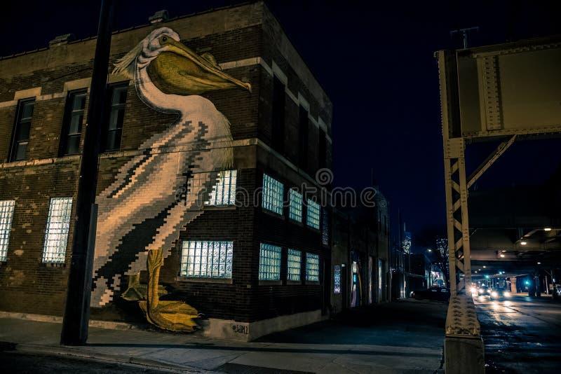 Arte murala della parete del pellicano da Juan De La Mora Monsivais in Chicago immagini stock