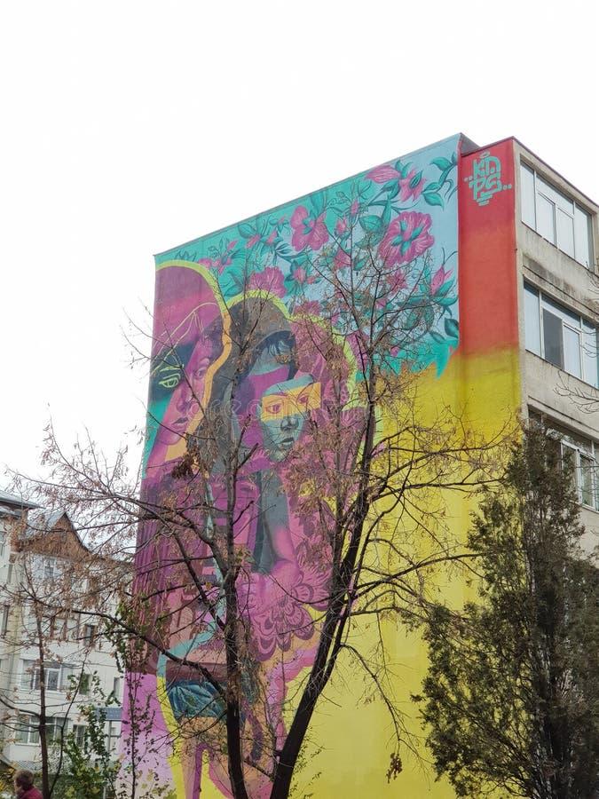 Arte muraria sui mattoni a Bacau in Romania, 2019 immagini stock libere da diritti