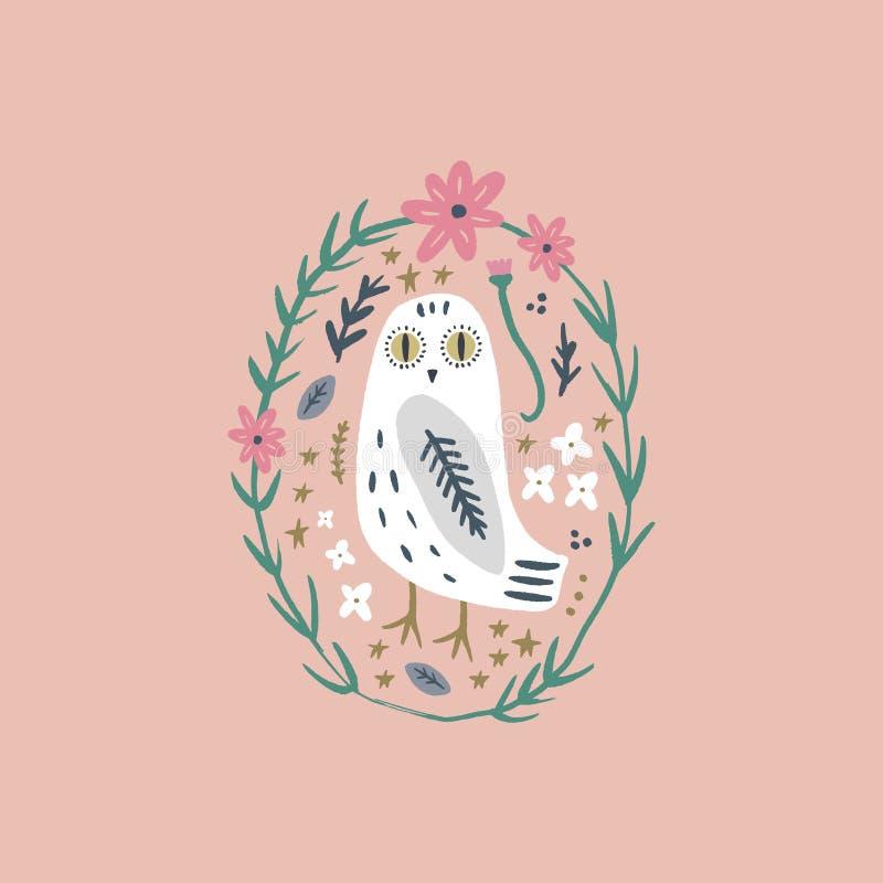 A arte nevado da coruja, pássaro polar branco boêmio bonito, tirando com decoração floral, ilustração tirada mão do vetor ilustração royalty free