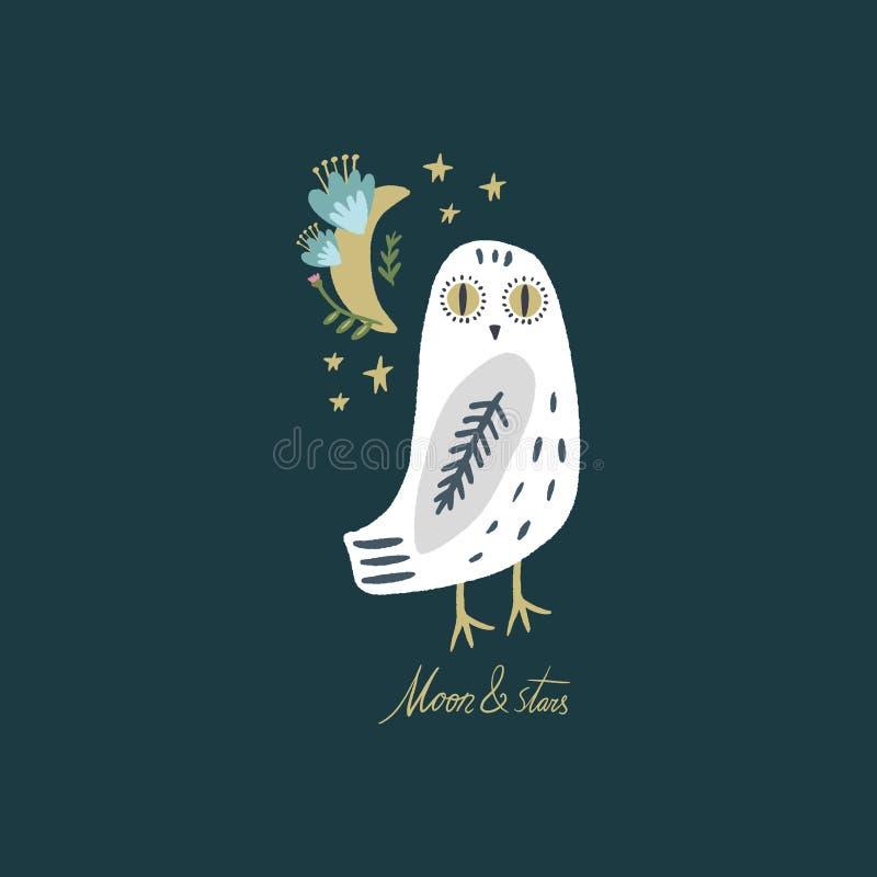 A arte nevado da coruja, pássaro polar branco boêmio bonito, tirando com decoração floral, ilustração tirada mão do vetor ilustração do vetor