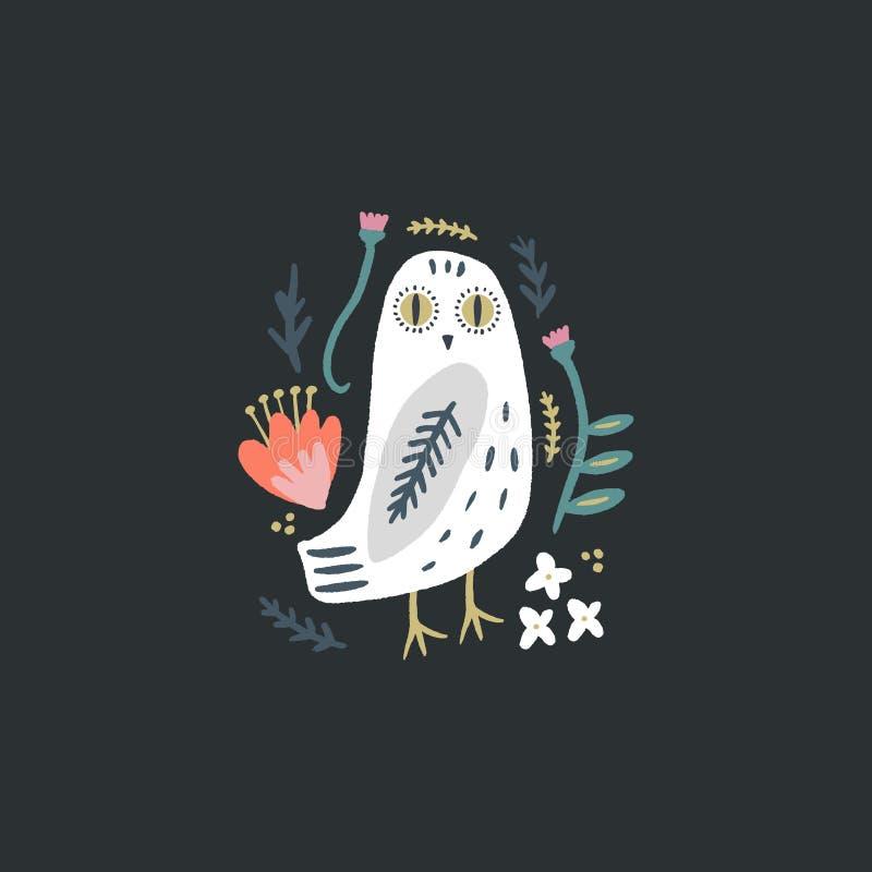 A arte nevado da coruja, pássaro polar branco boêmio bonito, tirando com decoração floral, ilustração tirada mão do vetor ilustração stock