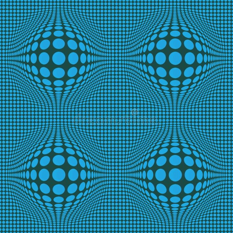 Arte Op abstrata de ilusão ótica com os pontos azuis em escuro - fundo verde ilustração royalty free
