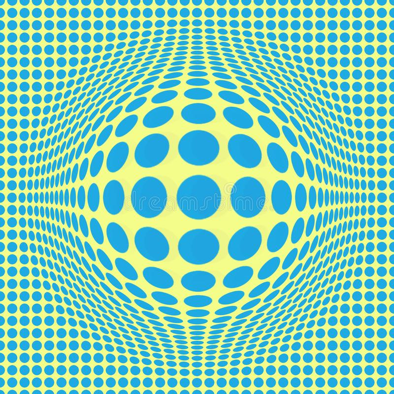 Arte op astratta di illusione ottica con i punti blu su fondo giallo Reticolo senza giunte illustrazione di stock