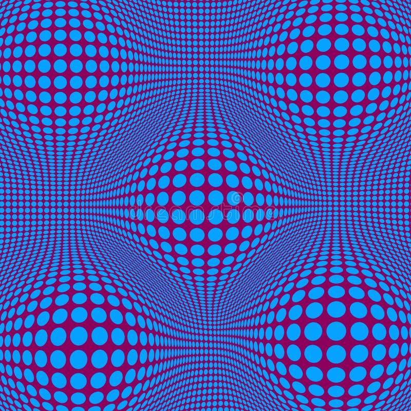 Arte op astratta di illusione ottica con i punti blu illustrazione vettoriale