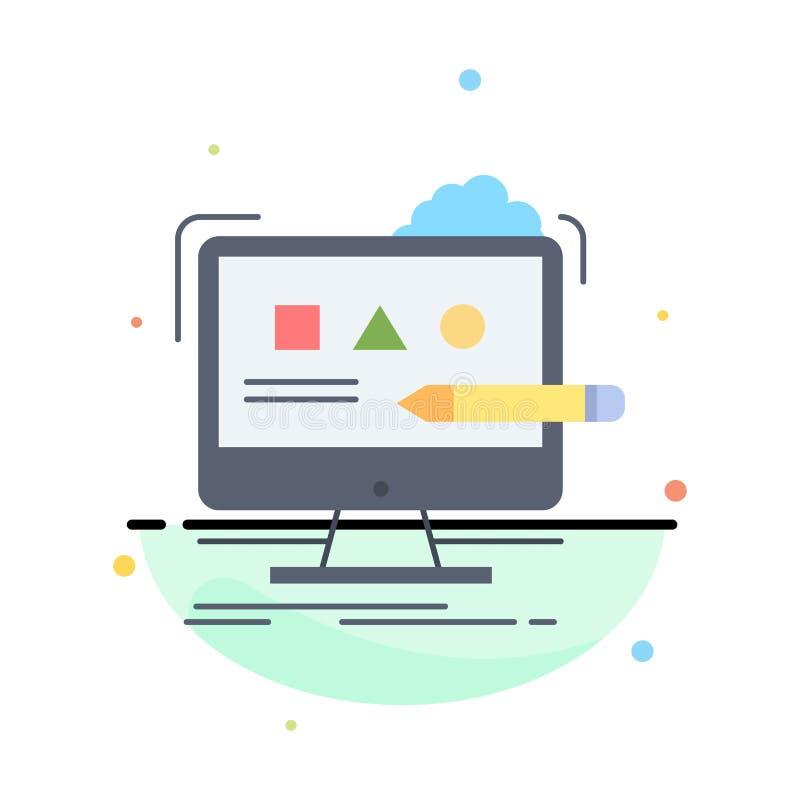 Arte, ordenador, diseño, digital, vector plano del icono del color del estudio libre illustration