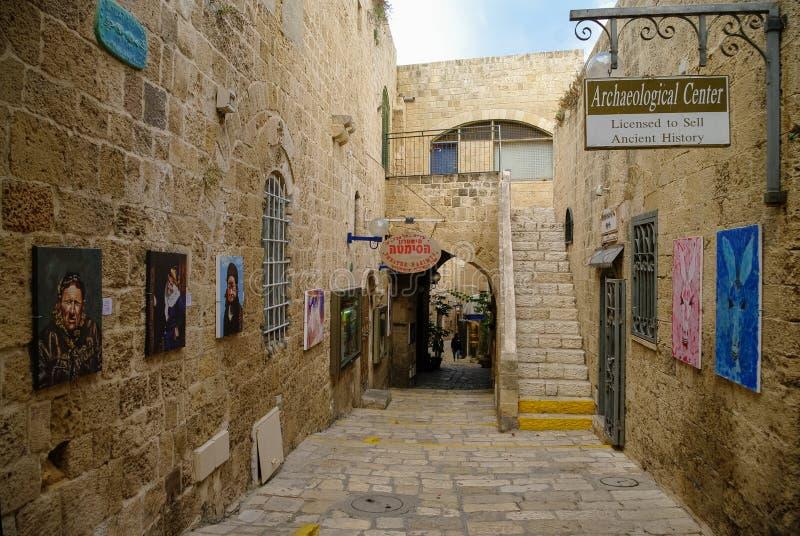 Arte original e galerias antigas em ruas estreitas Jaffa velho imagem de stock
