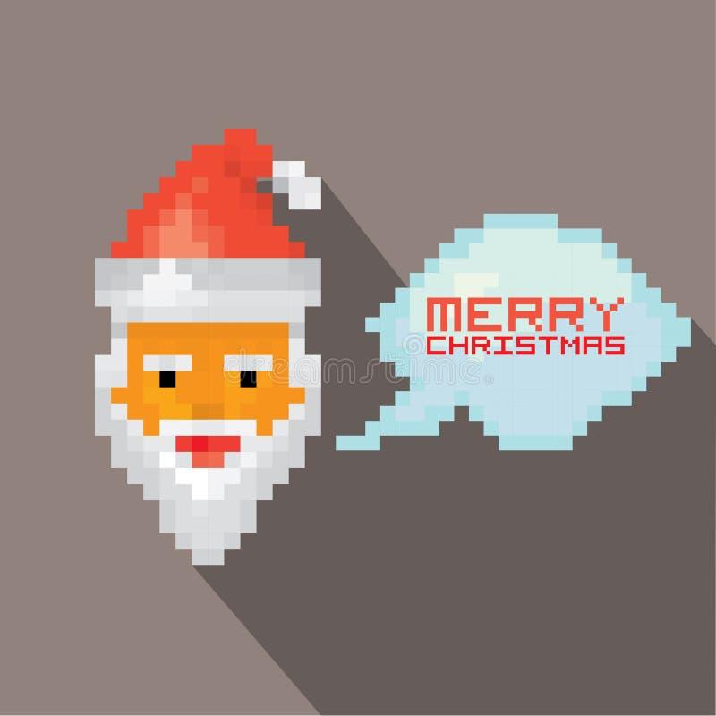 Arte Papá Noel del pixel de la Feliz Navidad del vector ilustración del vector