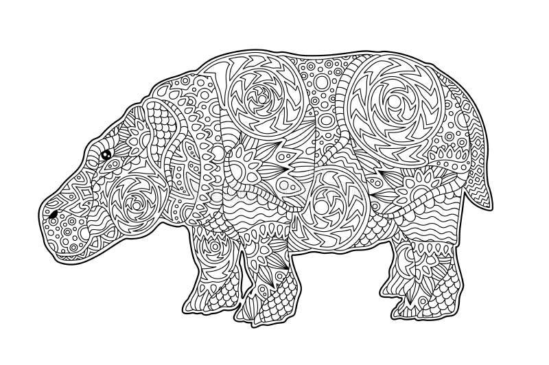 Desenhos Animados Do Hipopotamo Do Livro Para Colorir Ilustracao