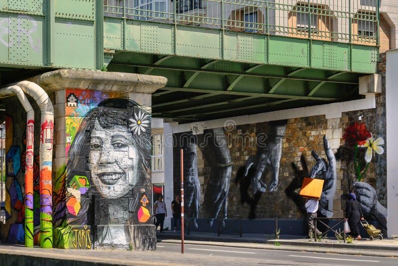 Arte Parisien della via fotografia stock libera da diritti
