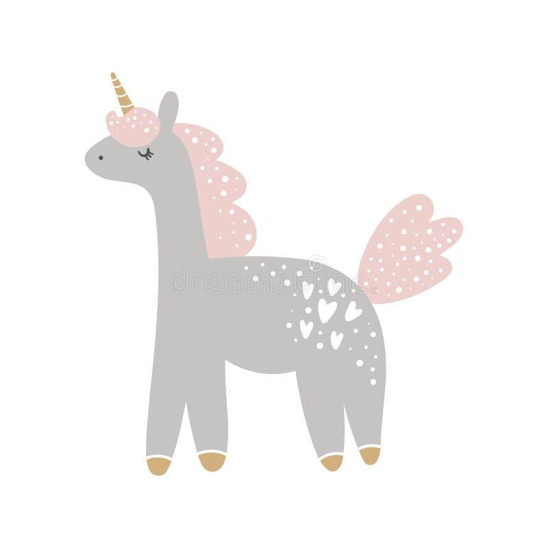 Arte pastello della scuola materna dell'unicorno disegnato a mano sveglio della ragazza illustrazione vettoriale