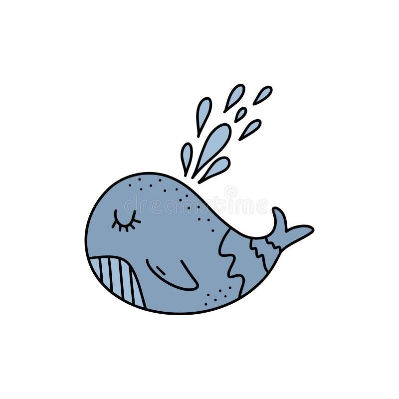 Arte pequena bonito da baleia do vetor Elemento do cartaz e da bandeira, crianças \ 'ilustração de livro de s, cartão ilustração royalty free