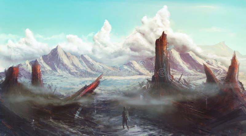 Arte perdida apocalíptico do conceito da paisagem do planeta ilustração royalty free