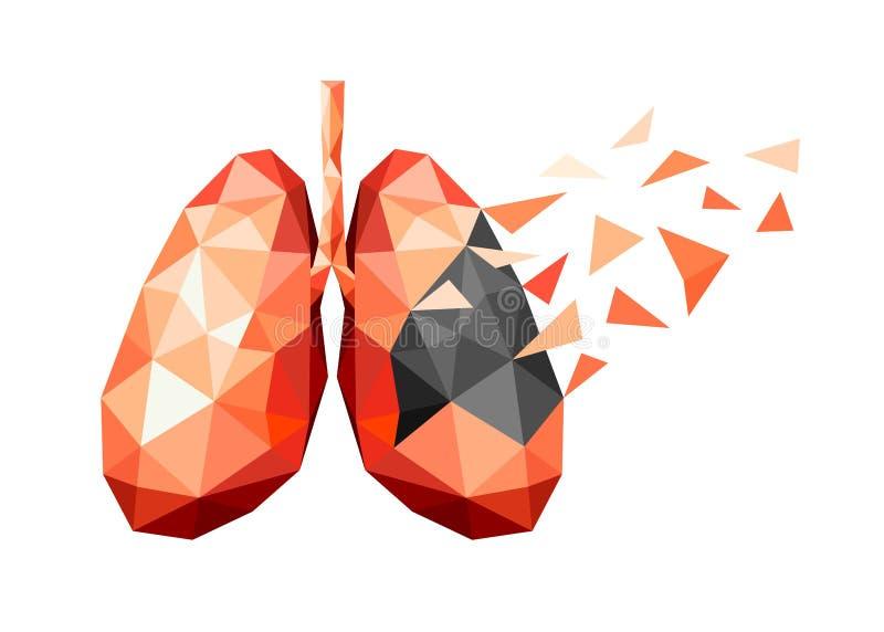 Arte poligonale di progettazione umana del polmone illustrazione vettoriale