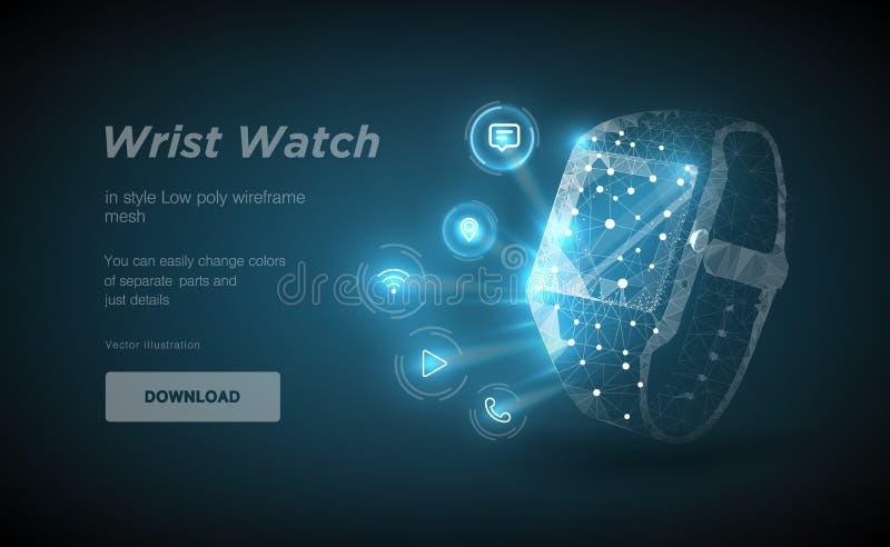 Arte polivinílico bajo del wireframe del reloj en backgraund negro Presentación de las funciones elegantes del reloj bajo la form ilustración del vector