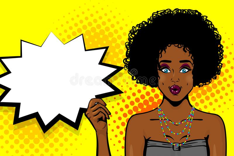 Arte pop afroamericano negro de la chica joven ilustración del vector