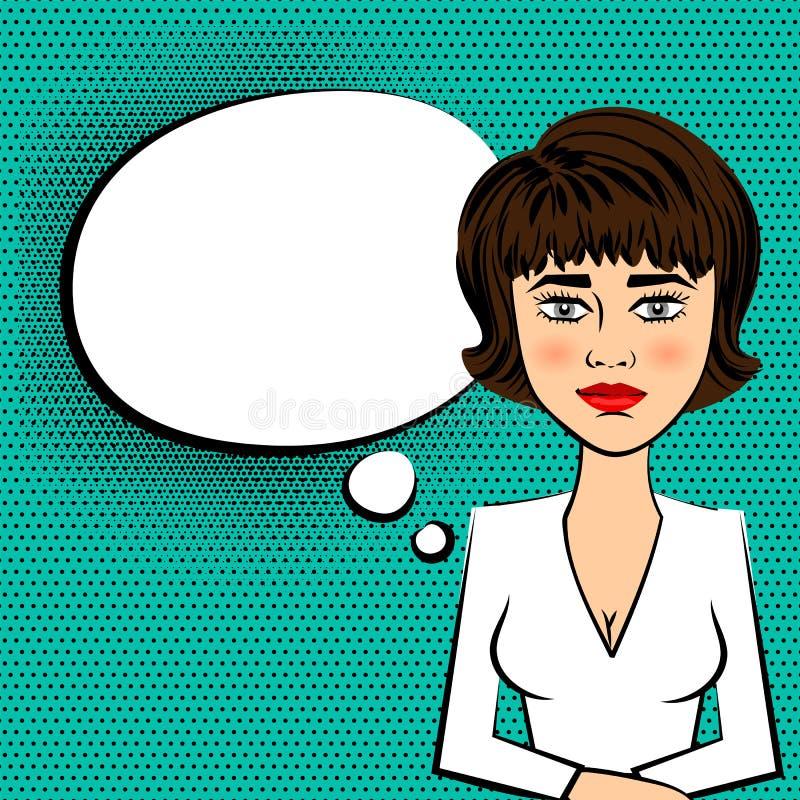 Arte pop blanco del vestido TV del presentador moreno de la mujer stock de ilustración