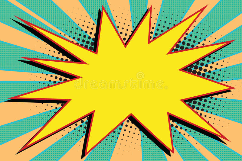 Arte pop cómico amarillo de la explosión de la explosión stock de ilustración