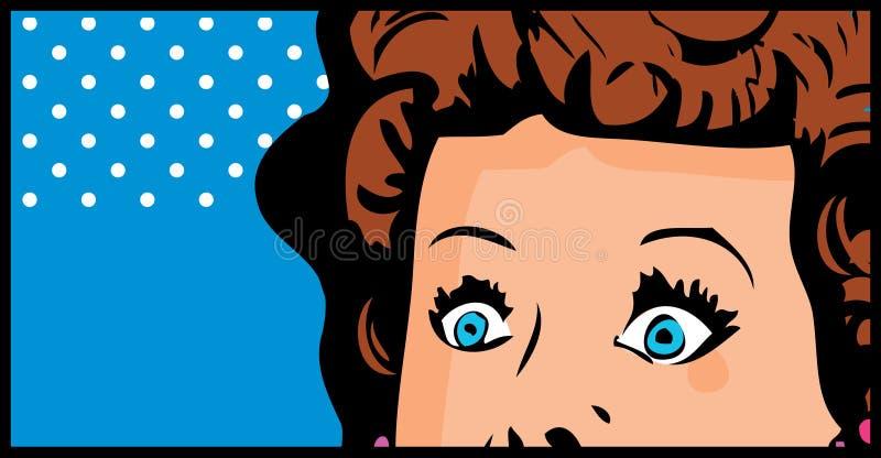 Arte pop cosechado de la cara de la mujer cómico ilustración del vector