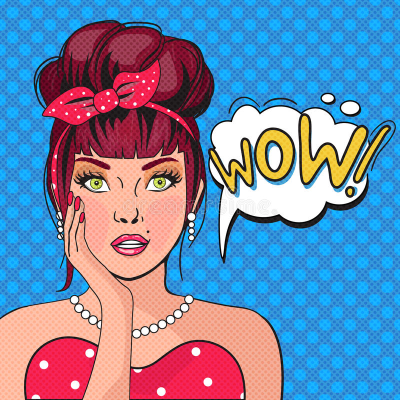 Arte pop de la burbuja del wow ilustración del vector