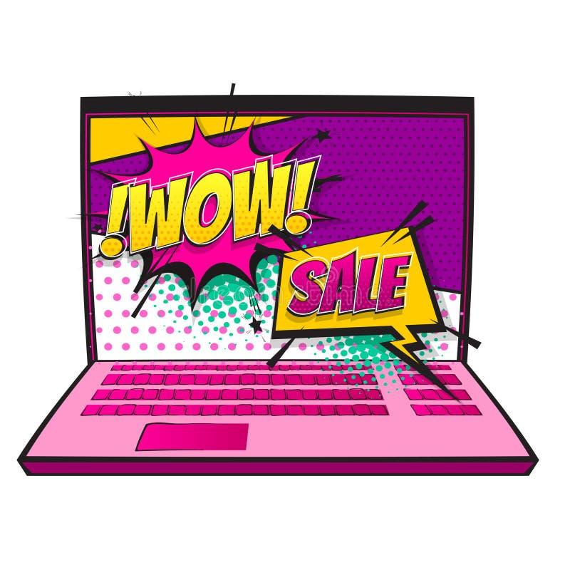 Arte pop del descuento de la venta del ordenador portátil del cómic guau stock de ilustración