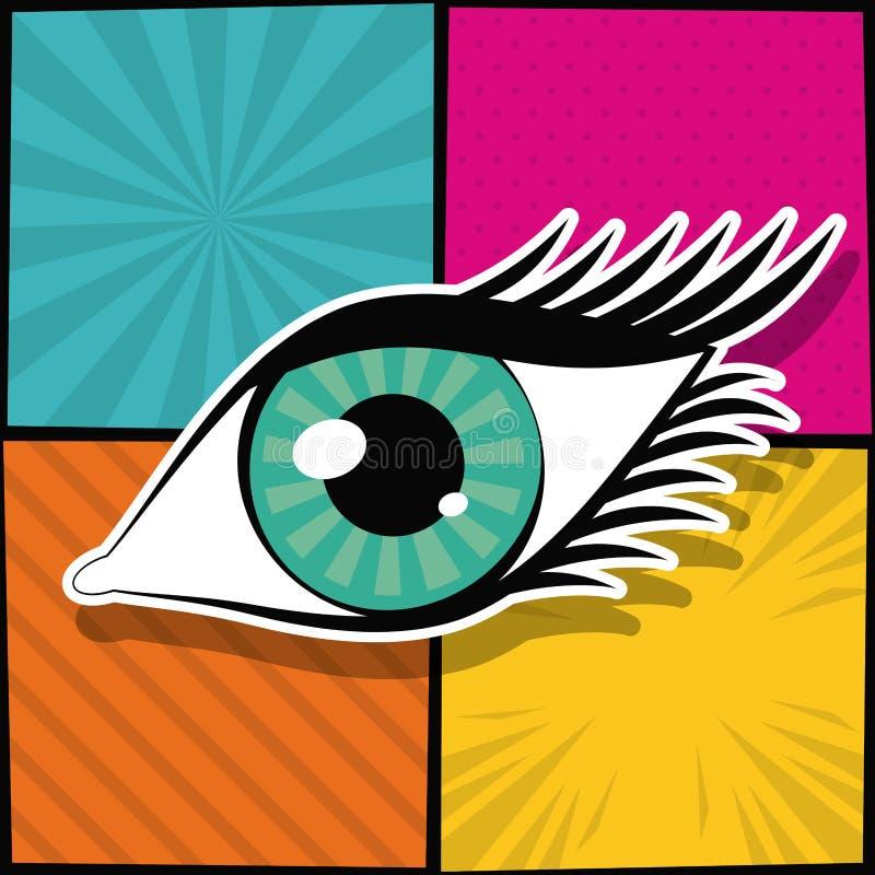 Arte pop del ojo de la mujer ilustración del vector