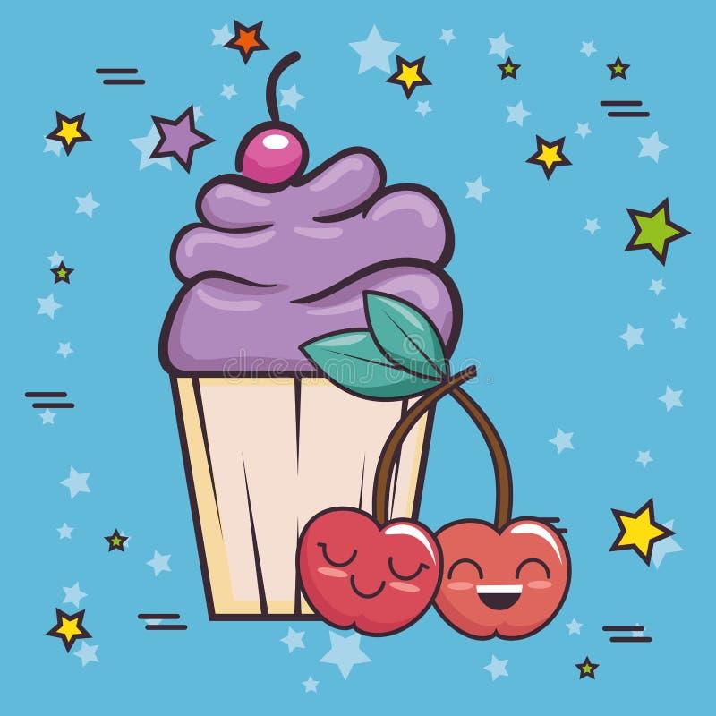 Arte pop delicioso de la magdalena stock de ilustración