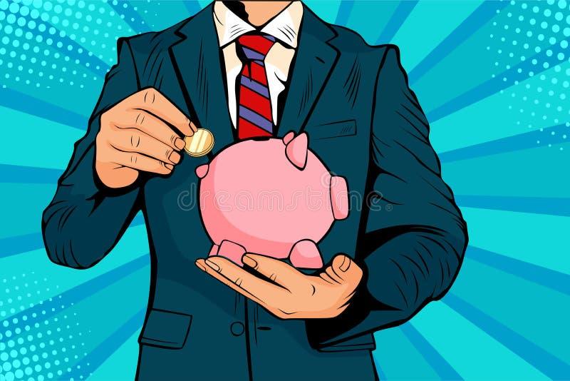 Arte pop El hombre de negocios pone moneda en un banco de cerdo con ahorros de dinero ilustración del vector