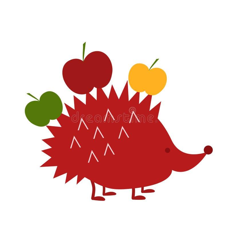 Arte popular. Cosecha de manzanas. Hedgehog lleva manzanas. Aislado en el fondo blanco ilustración del vector
