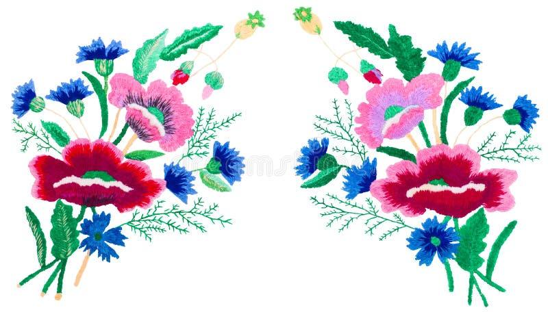 Arte popular decorativo, bordado en la superficie, ramo en un fondo blanco imagen de archivo libre de regalías