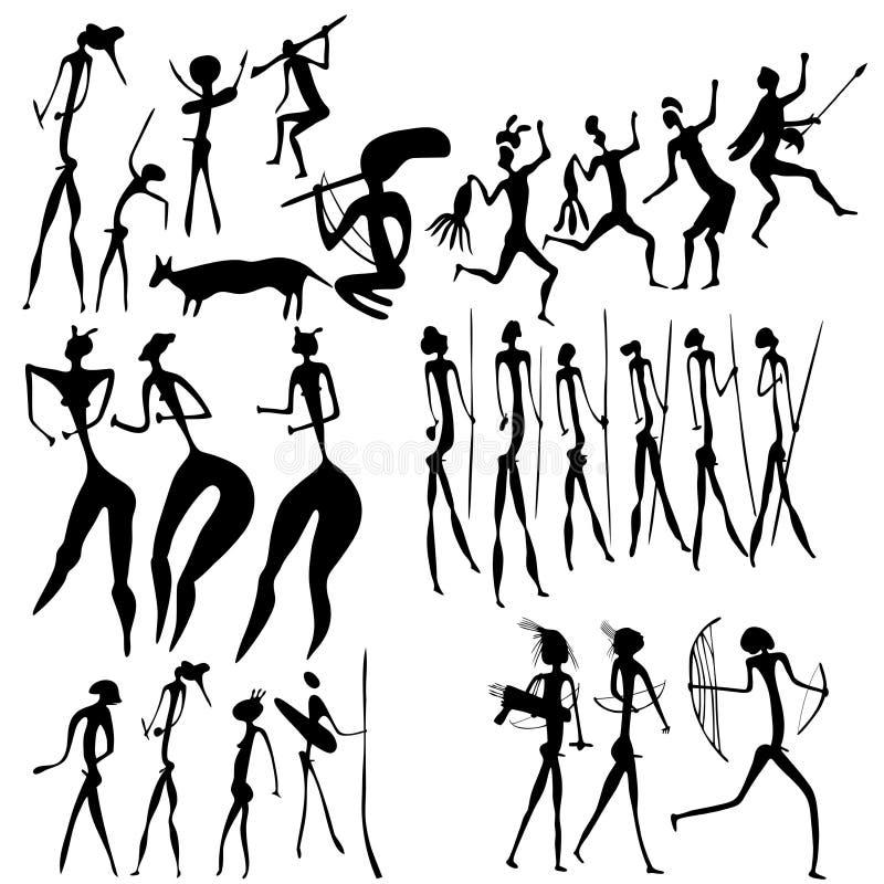 Arte primitiva - várias figuras ilustração do vetor