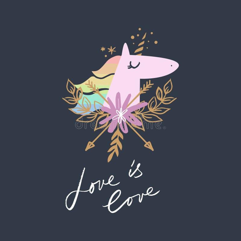 Arte principal del unicornio, ejemplo del tema de LGBT Vector e imagen del jpg ilustración del vector
