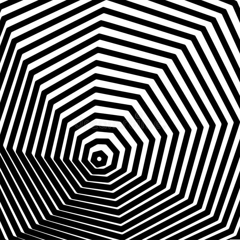 Arte ?ptico. Ilusi?n abstracta blanco y negro de Geomrtric stock de ilustración