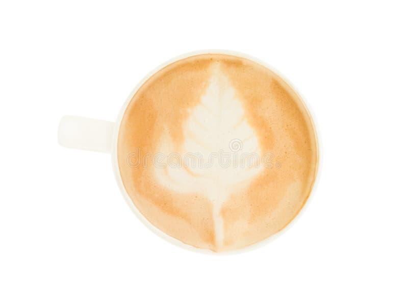 Arte quente do latte do café isolada no fundo branco imagens de stock royalty free