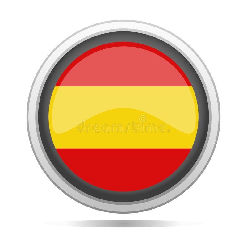 Arte redonda do vetor da cidade do projeto do símbolo do metal da bandeira da Espanha ilustração stock