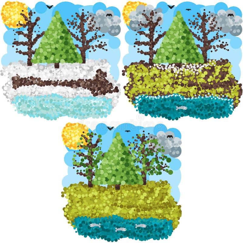 Arte redondo de los pixeles de la primavera libre illustration