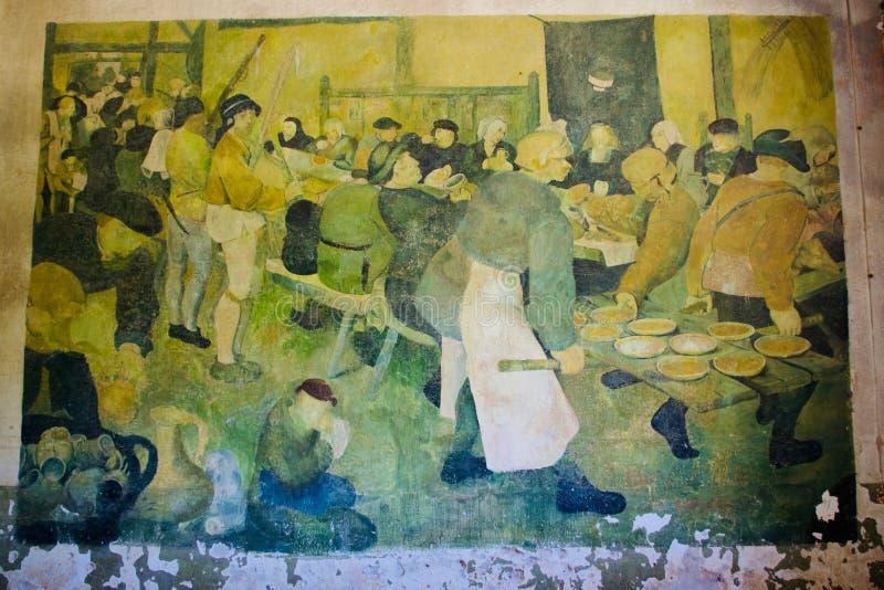 Arte retro del ll de la guerra mundial, Diapori, Leros, Grecia imagenes de archivo