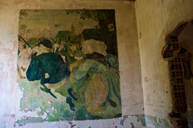 Arte retro del ll de la guerra mundial, Diapori, Leros, Grecia fotografía de archivo libre de regalías