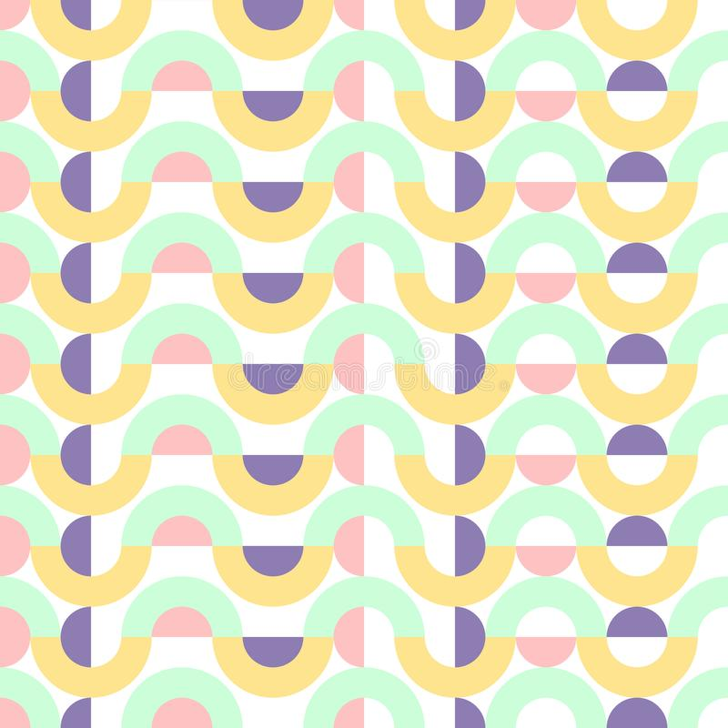 Arte retro del modelo del vector del fondo del vintage colorido abstracto geométrico inconsútil del diseño con los círculos y la  libre illustration