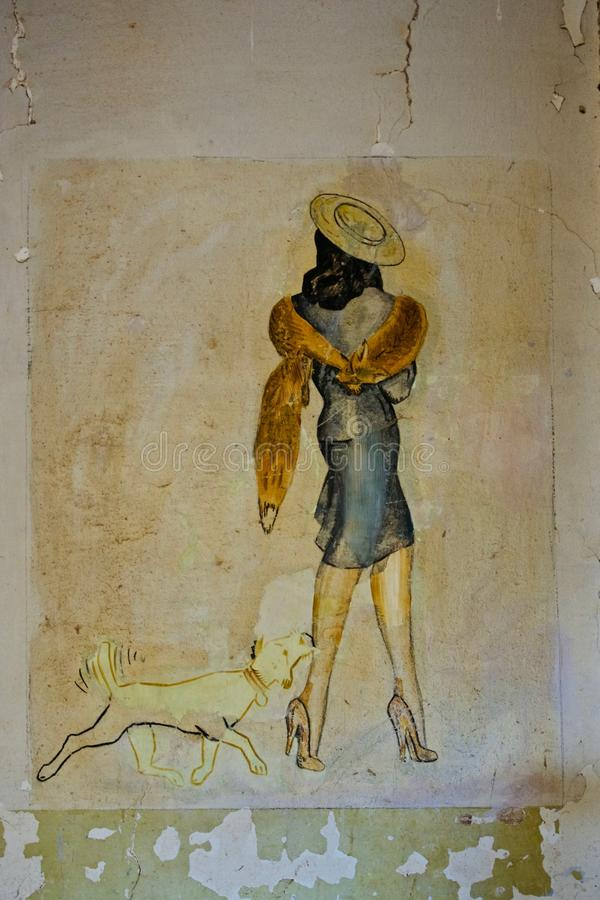 Arte retro do ll da guerra mundial, Diapori, Leros, Grécia foto de stock royalty free