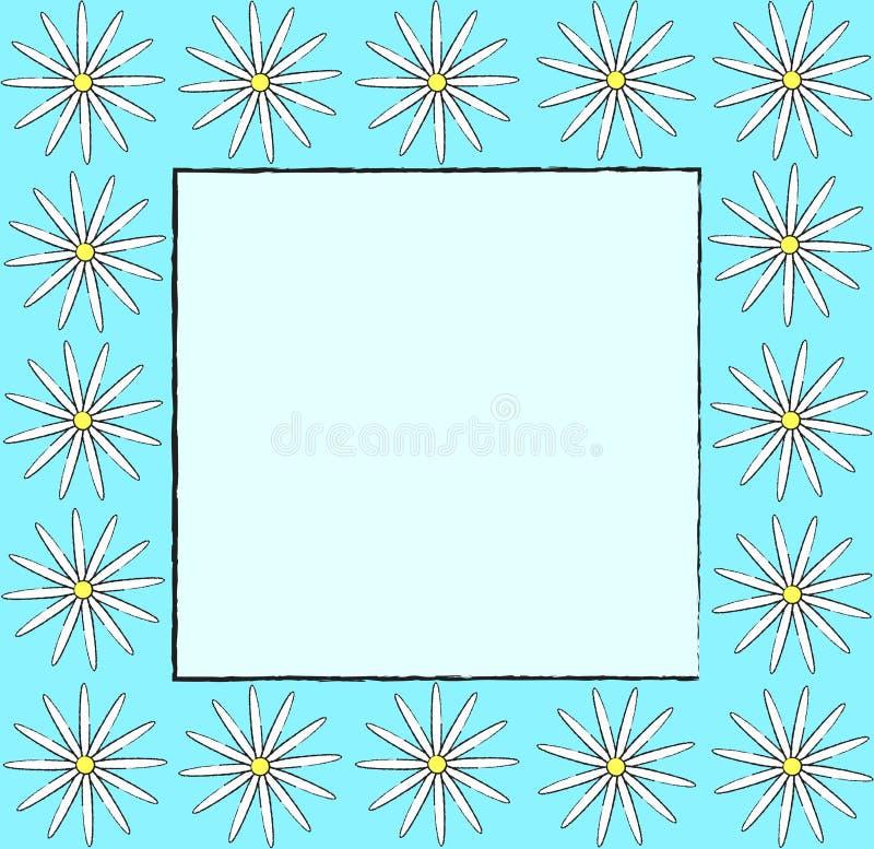 A arte retro do projeto do fundo azul floral do aqua do vetor do teste padrão do quadro do vintage com o esboço tirado mão que ol ilustração do vetor