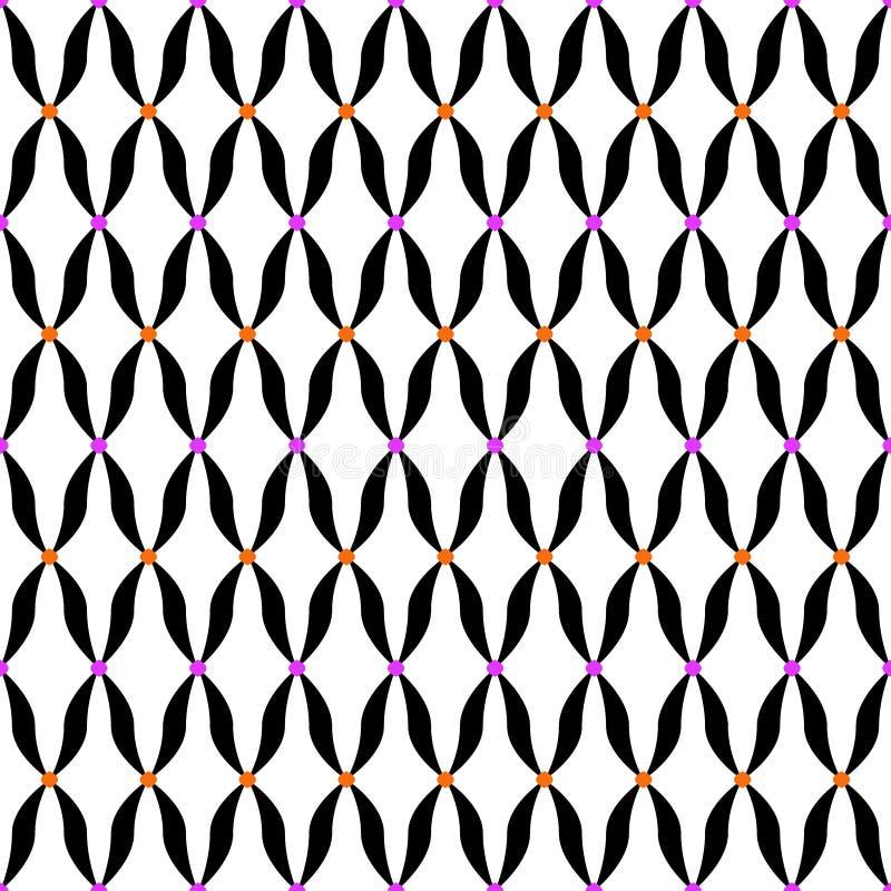 Arte retro do vintage colorido abstrato geométrico sem emenda do projeto simples do fundo do vetor do teste padrão com formas cur ilustração stock