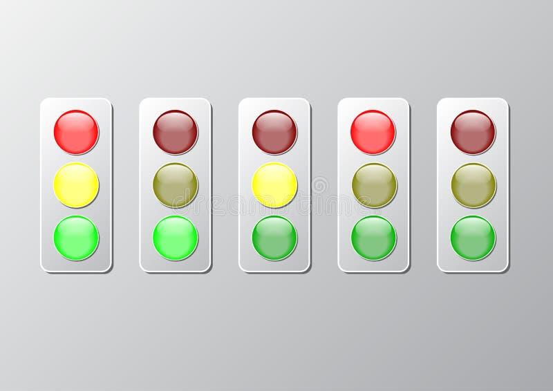 Arte rojo del corte del papel de semáforo del verde amarillo stock de ilustración