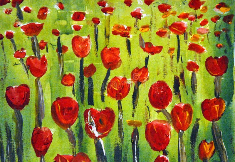 Arte rojo del tulipán imagen de archivo libre de regalías